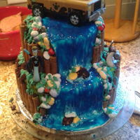 Waterfall Cake (Wild Kratts Theme) One of my most recent cake. Wild Kratts was the birthday theme. Used gel icing for the first time mixing the blue sparkly one with some...