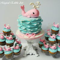 Whale Cake And Cupcakes I had so much fun to make this cake. The cake is coconut cake