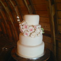 White And Blush Roses Wedding Cake   Made for a good friend's wedding yesterday.