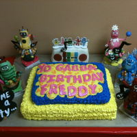 Yo Gabba Gabba Main cake was chocolate with chocolate cream puff recipe,then additional Birthday Boy cake was all white cake with buttercream decorated...