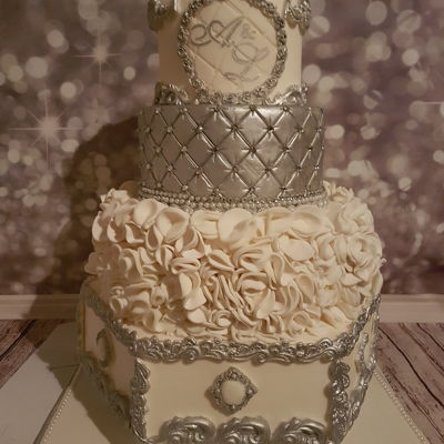 Amour & Love White And Silver Wedding Cake