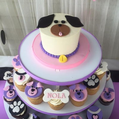 Puppy Smash Cake And Fondant Topped Cupcakes