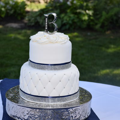 Quilted Wedding Cake In White, Silver And Navy Blue