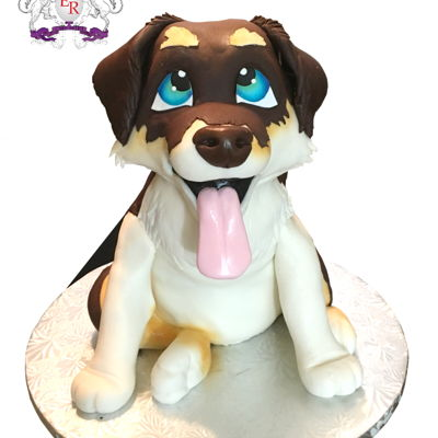 Sculpted Puppy Cake Husky Collie