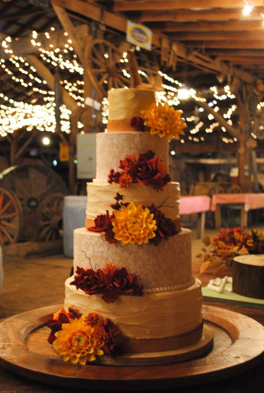 Autumn Burlap And Lace on Cake Central