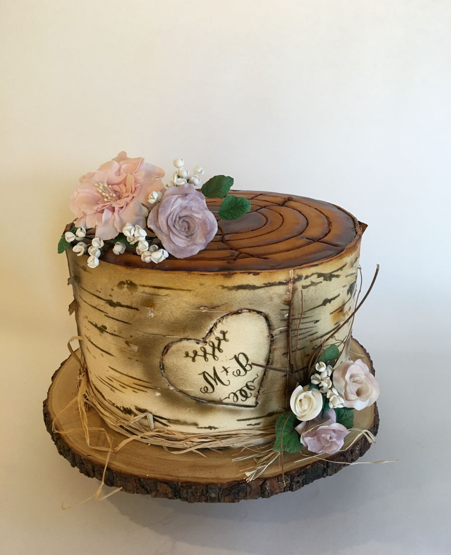 Birch Tree Stump Engagement Cake
