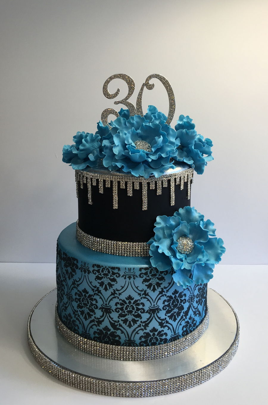 Blue And Bling 30th Birthday Cake Cakecentral