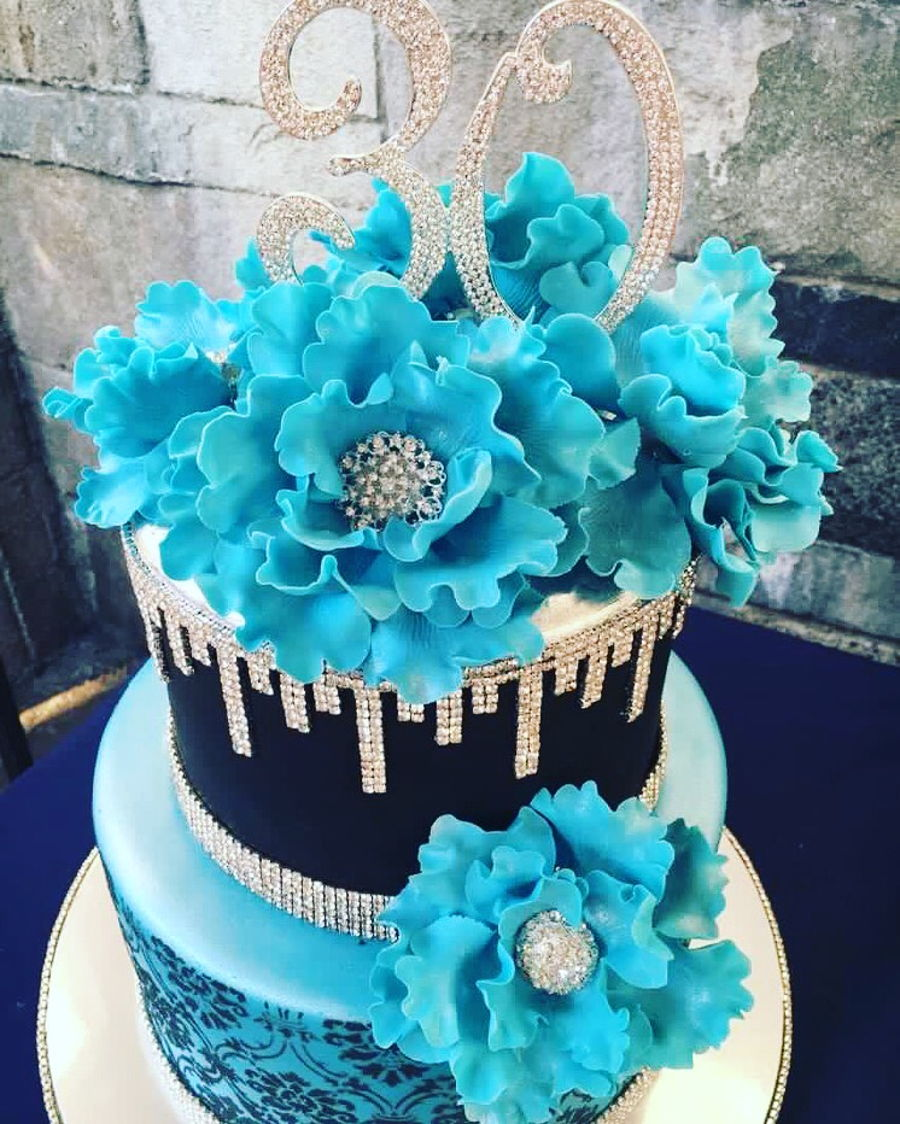 Astonishing Blue And Bling 30Th Birthday Cake Cakecentral Com Funny Birthday Cards Online Elaedamsfinfo