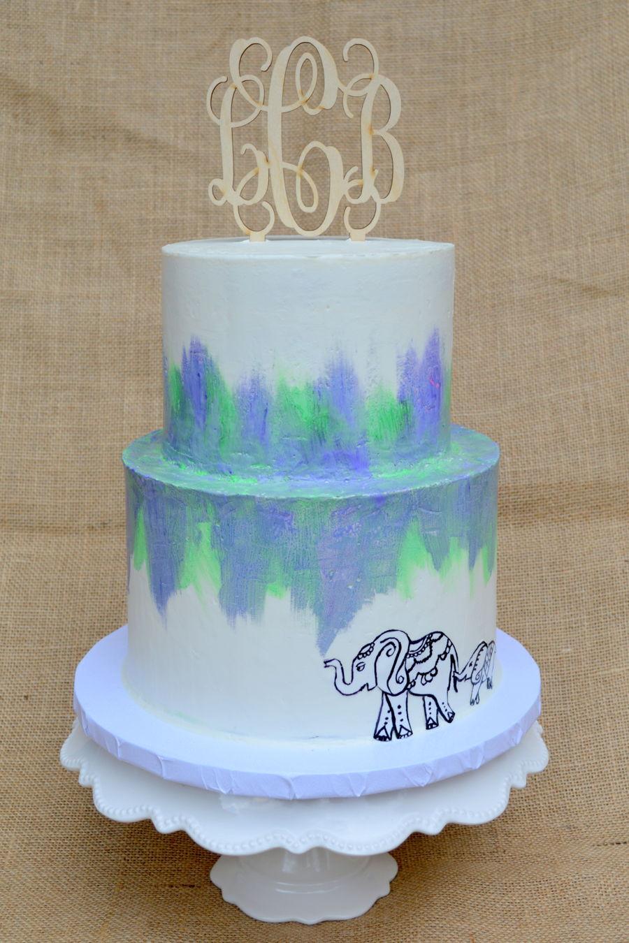 buttercream watercolor cake