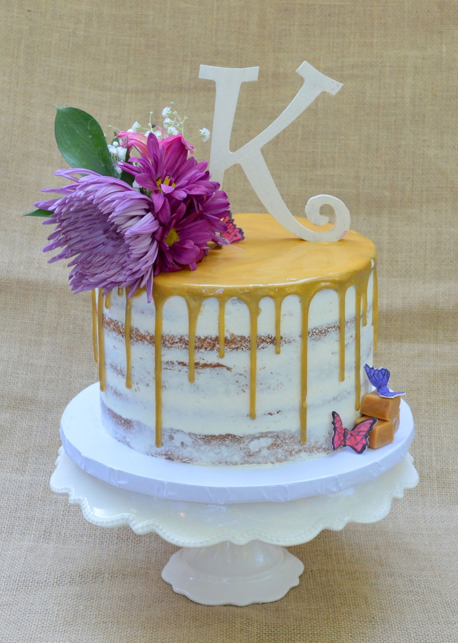 Gold Drip Semi Naked Cake Cakecentral Com