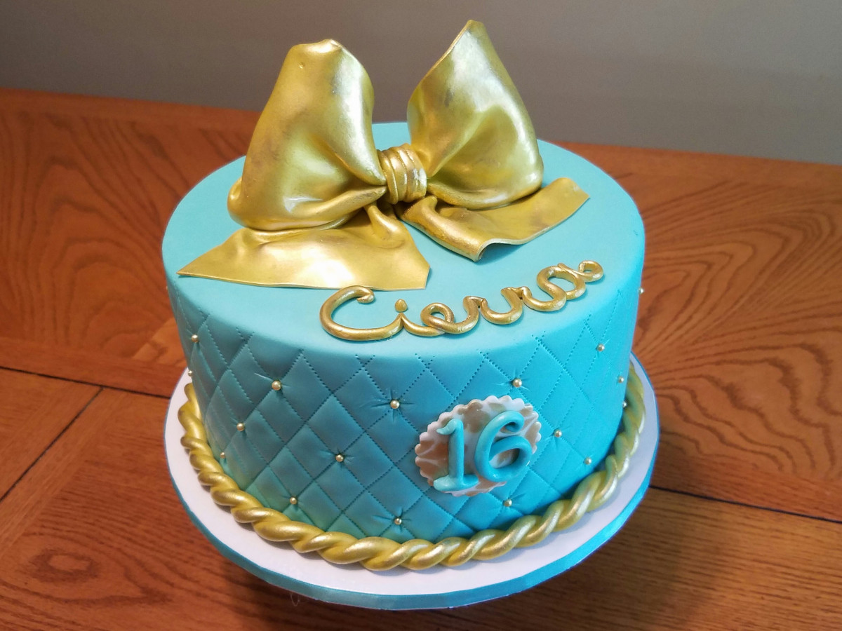 Quilted Teal And Gold Sweet 16 Cake Cakecentral Com