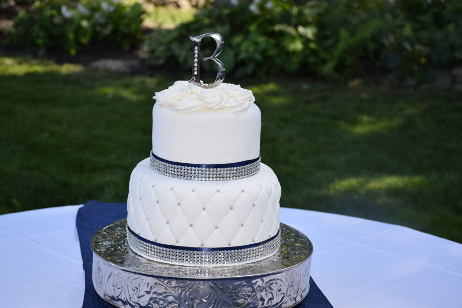 wedding cake navy blue and white quilted wedding cake in white silver and navy blue 23304