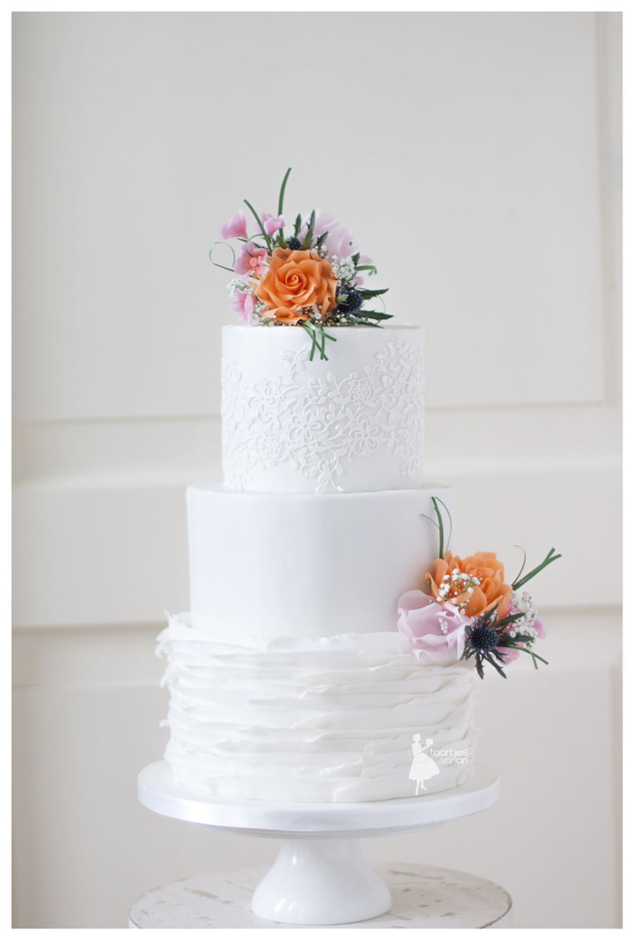 White ruffled weddingcake with orange and pink flowers cakecentral white ruffled weddingcake with orange and pink flowers on cake central mightylinksfo