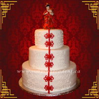 3 Tier Fondant Traditional Chinese Wedding Cake. 3 Tier Fondant Traditional Chinese Wedding Cake.