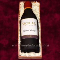 3D Custom Wine Bottle Cake 3D Wine Bottle Cake with Custom Edible Image Label in a Fondant Wood Grain Box, Filled with White Chocolate Shavings (ALL 100% Edible)