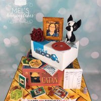 40Th Birthday Cake For a dear friend with lots of personal details, all completely edible. Board game cake with game pieces and dice. an edible picture frame...