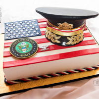 Army Promotion Cake  Hat was made from cake and I used modeling chocolate to create the hat around the cake. Gumpaste was used to create the leaves, buttons,...