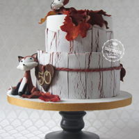 Autumn Cake With Crackled Effect Autumn cake with gumpaste foxes for the Fox family who are celebrating their 50th wedding anniversary