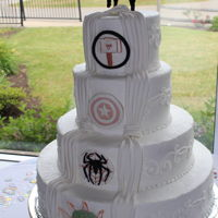 Avenger Wedding Cake Bride and Groom wanted an Avenger themed wedding cake.