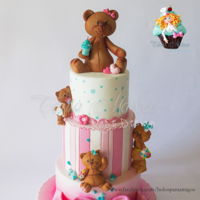 Baby Bears Three tier cake, decorated with sugar paste. Bears were molded by hand with sugar paste.