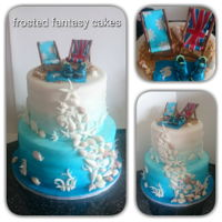 Beach Themed Wedding Cake ombre beach themed two tiered wedding cake, decorated with gumpaste seashells and deck chairs