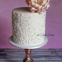 Beaded Embroidery Cake Beaded embroidery cake topped with a gumpaste peony. Especially enjoyed making this one as it's for my birthday! First time using a...
