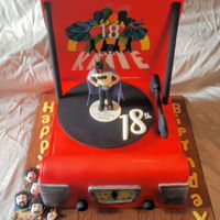 Beatles Themed Record Player Red sixties, Beatles themed record player cake. The lid is a thin cake board covered both sides with fondant and then airbrushed, It is...