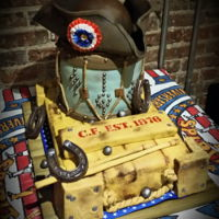 "Bicentennial Birthday Cake For someone born on the US bicentennial year. Top tiers (hat and drum) - chocolate, with chocolate cream and ganache, ""crate"" is..."