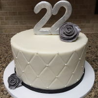 Black And White 22Nd Birthday Cake  7-inch chocolate fudge cake covered in quilted vanilla buttercream. Fondant flowers and gumpaste 22 brushed with pearl and silver luster...