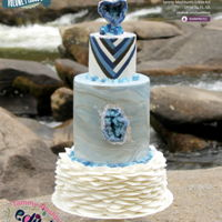 "Blue Geode  It was an honor to be asked to do a cake for Cake Central Volume 7 Issue 3 int the ""Blue Geode Wedding Cake"" section. I was on my..."