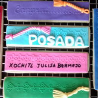 Book Marker Cookies   Book Marker cookies with fondant for a first release party. Title of book is Posada.