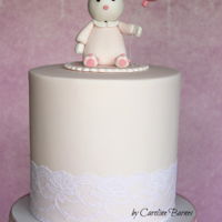 Bunny And Balloon Cake Double barrel cake with a bunny and balloon cake topper