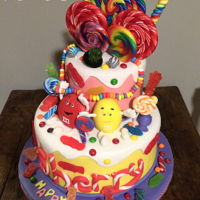 Candy Overload! Adorable lollipop and candy themed birthday cake with gummies, fondant M&Ms! Candyland!