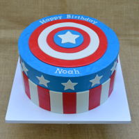 Captain America Cake Vanilla Cake with Italian Meringue Buttercream and Fondant Embellishments