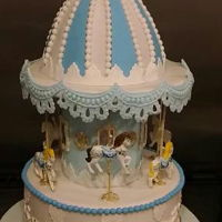Carousel Cake   Carousel cake.Top of the carousel is also cake,with Edible hand painted horses.