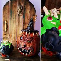 Creepy Sculpted Pumpkin Cake   Creepy Sculpted pumpkin and cauldron cake by Liz Huber Cakery Creation