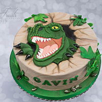 Dino 2D Cake  Fondant cutout by hand and placed onto cake. This cake was replicated after similar cakes all over the internet. I do not know the original...