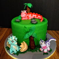Dinosaur Birthday Cake   Dinosaur birthday cake with cute fondant dinosaurs...