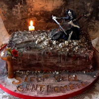 Don't Fear The Reaper Victoria Sponge cake for my son's 40th Birthday.