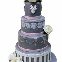 Elegant Wedding Cake In Grey With Lace   Elegant wedding cake in grey with lace