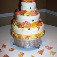 Fall Weddng Cake Fall leaves, pumpkins, gourds & acorns for an Autumn wedding cake.