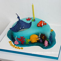 Finding Nemo The cake with chocolate cream.