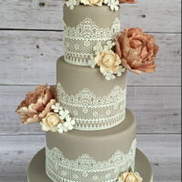 Flowers And Lace Wedding Lace and peonies. Chocolate mud, white chocolate mud and caramel mud.