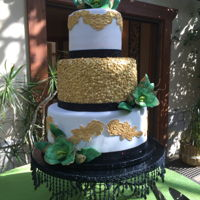 Gold And Green I made this cake for my friend's wedding. Gold, green, black and white were their colors, and lots and lots of bling! The cake...