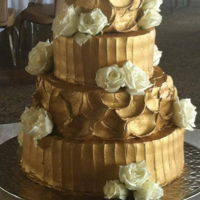 Gold Buttercream Cake Rustic buttercream painted with gold luster dust