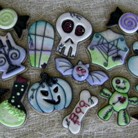 Goofy Goths, Boo Bones, And Candy Curls - Happy Halloween Halloween themed cookie set, orange-cinnamon NFSC, vanilla RI, outline-flood, wet-on-wet, hand painted, sparkling sugar accents
