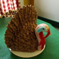 Grooms Cake Turkey,made for a turkey hunter.Chocolate cake,rice krispies head and neck covered in fondant.