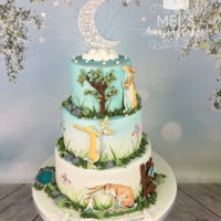 Guess How Much I Love You Christening Cake  christening cake based on the popular children's book ,guess how much I love you. I absolutely love the artwork in the book so I was...