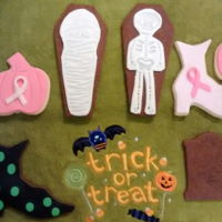 Halloween Cookies   NFSC with fondant. Halloween cookies with Halloween Breast Cancer cookies.