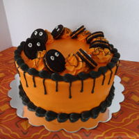Halloween Oreo 9 inch cake, frosted in buttercream.